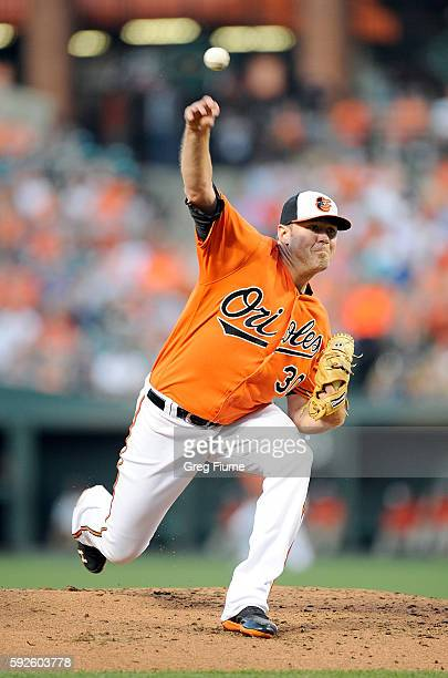 Chris Tillman of the Baltimore Orioles pitches in the second inning against the Houston Astros at Oriole Park at Camden Yards on August 20 2016 in...