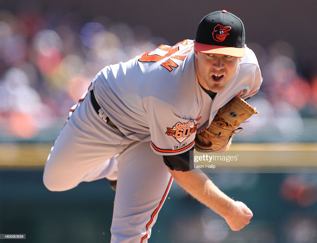 <a gi-track='captionPersonalityLinkClicked' href=/galleries/search?phrase=Chris+Tillman&family=editorial&specificpeople=713179 ng-click='$event.stopPropagation()'>Chris Tillman</a> #30 of the Baltimore Orioles pitches in the third inning of the game against the Detroit Tigers at Comerica Park on April 6, 2014 in Detroit, Michigan. The Orioles defeated the Tigers 3-1.