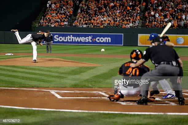 Chris Tillman of the Baltimore Orioles throws a pitch in the first inning against the Kansas City Royals during Game One of the American League...