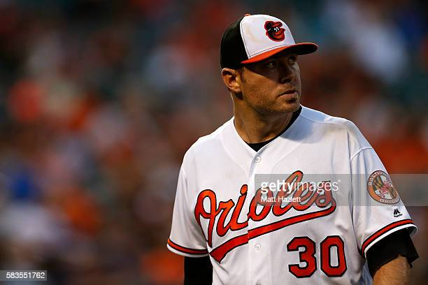 Chris Tillman of the Baltimore Orioles walks off of the field in the third inning against the Colorado Rockies at Oriole Park at Camden Yards on July...