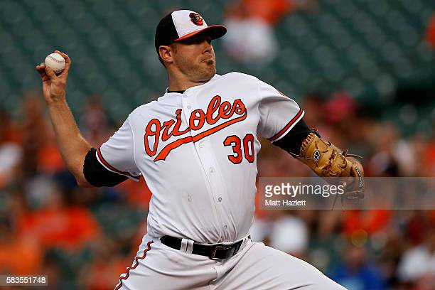 Chris Tillman of the Baltimore Orioles works in the first inning against the Colorado Rockies at Oriole Park at Camden Yards on July 26 2016 in...