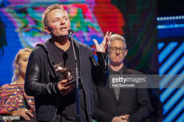 Chris Tomlin receives the Worship Album of the Year Award during the 48th Annual GMA Dove awards in Allen Arena on October 17 2017 in Nashville TN