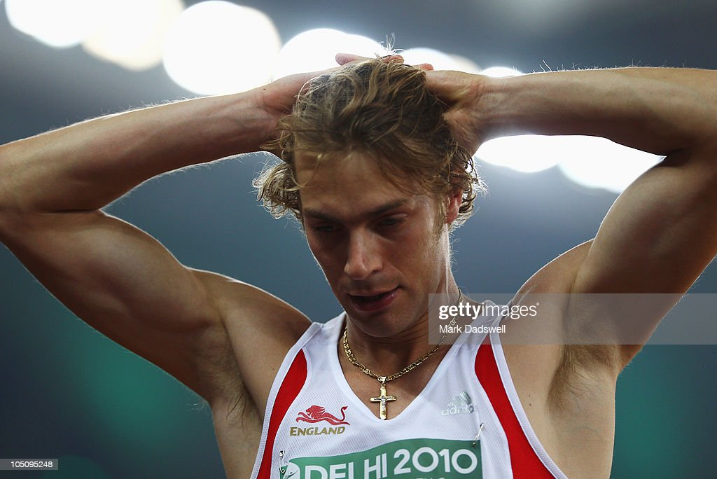 Chris Tomlinson of England reacts during the men's long jump final at Jawaharlal Nehru Stadium during day six of the Delhi 2010 Commonwealth Games on October 9, 2010 in Delhi, India.