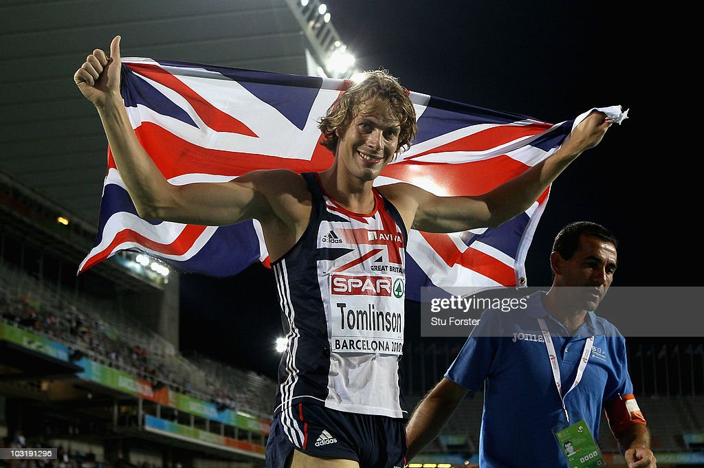 Chris Tomlinson of Great Britain celebrates the Bronze medal in the Mens Long Jump Final during day six of the 20th European Athletics Championships at the Olympic Stadium on August 1, 2010 in Barcelona, Spain.