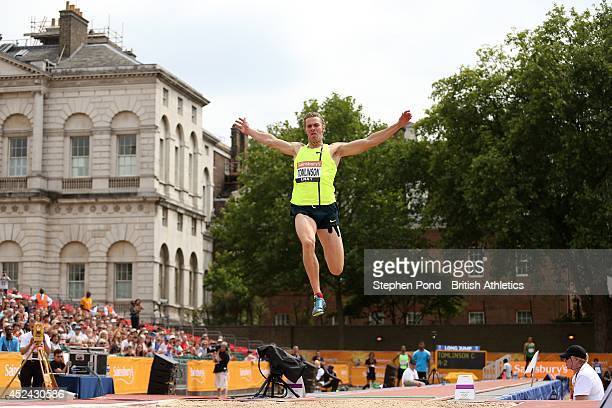 Chris Tomlinson of Great Britain competes in the Men's Long Jump event during the Sainsbury's Anniversary Games at Horse Guards Parade on July 20...