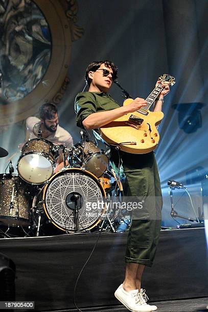 Chris Tomson and Ezra Koenig of Vampire Weekend performs at 02 Arena on November 13 2013 in London England