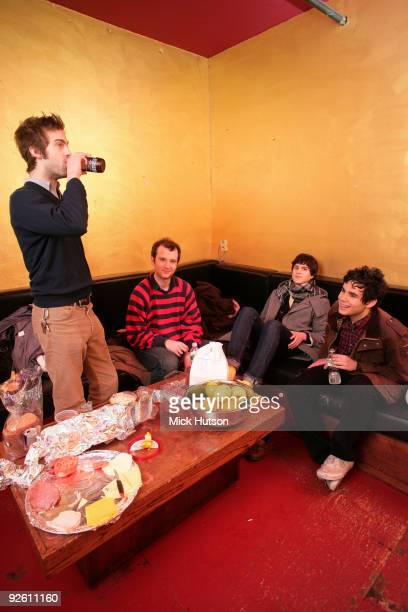 Chris Tomson Chris Baio Ezra Koenig and Rostam Batmanglij of Vampire Weekend backstage with their rider at the Bowery Ballroom on January 30th 2008...