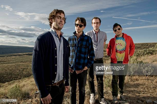 Chris Tomson Ezra Koenig Chris Baio and Rostam Batmanglij of Vampire Weekend pose for a portrait backstage at the Sasquatch Music Festival on 29th...
