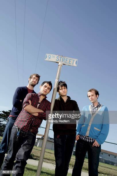 Chris Tomson Rostam Batmanglljof Ezra Koenlg Chris Balo of Vampire Weekend pose for a group shot in 2008 in San Francisco CA