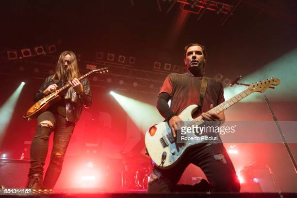 Chris Traynor and Gavin Rossdale of British rock band Bush perform on stage at O2 ABC Glasgow on September 26 2017 in Glasgow Scotland