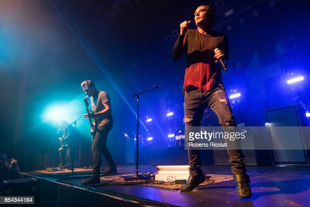 Chris Traynor Corey Britz and Gavin Rossdale of British rock band Bush perform on stage at O2 ABC Glasgow on September 26 2017 in Glasgow Scotland