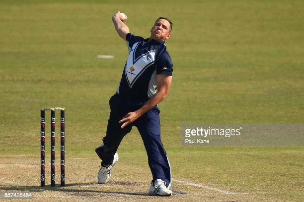 Chris Tremain of the Bushrangers bowls during the JLT One Day Cup match between Victoria and Tasmania at WACA on October 4 2017 in Perth Australia