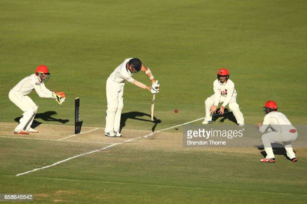 Chris Tremain of the Bushrangers plays a defensive shot during the Sheffield Shield final between Victoria and South Australia on March 28 2017 in...