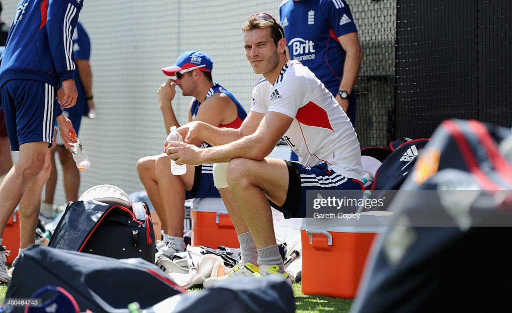 <a gi-track='captionPersonalityLinkClicked' href=/galleries/search?phrase=Chris+Tremlett&family=editorial&specificpeople=241544 ng-click='$event.stopPropagation()'>Chris Tremlett</a> of England takes a break during an England nets session at The Gabba on November 19, 2013 in Brisbane, Australia.