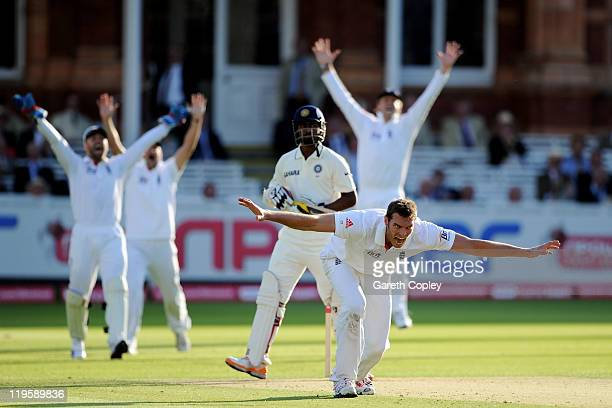 Chris Tremlett of England unsuccessfully appeals the wicket of Abhinav Mukund of India during day two of the 1st npower Test Match between England...