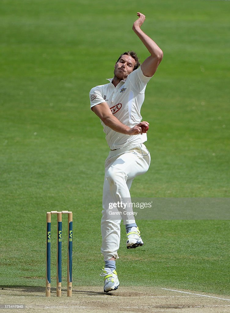 <a gi-track='captionPersonalityLinkClicked' href=/galleries/search?phrase=Chris+Tremlett&family=editorial&specificpeople=241544 ng-click='$event.stopPropagation()'>Chris Tremlett</a> of Surrey bowls during day four of the LV County Championship Division One match between Yorkshire and Surrey at Headingley on June 24, 2013 in Leeds, England.
