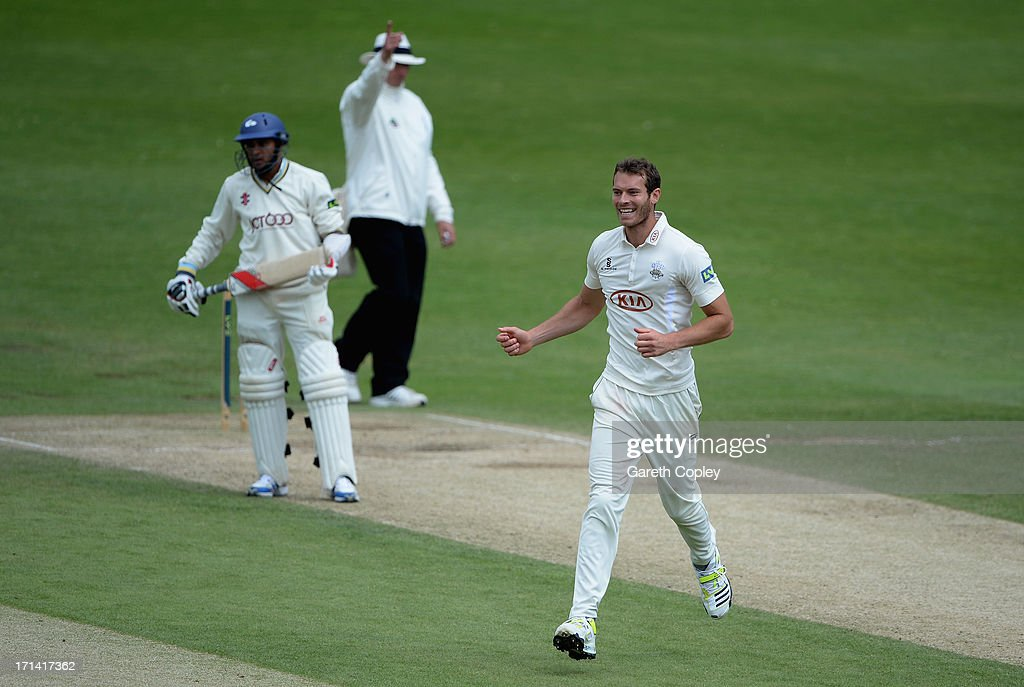 <a gi-track='captionPersonalityLinkClicked' href=/galleries/search?phrase=Chris+Tremlett&family=editorial&specificpeople=241544 ng-click='$event.stopPropagation()'>Chris Tremlett</a> of Surrey celebrates dismissing Joe Sayers of Yorkshire during day four of the LV County Championship Division One match between Yorkshire and Surrey at Headingley on June 24, 2013 in Leeds, England.