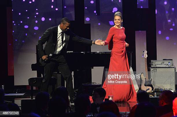 Chris Tucker and CoFounder/Board member of Delete Blood Cancer Katharina Harf speak onstage during the 2014 Delete Blood Cancer Gala Honoring Evan...