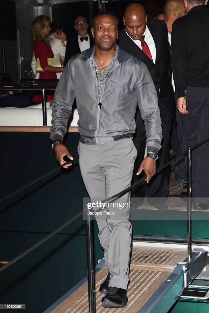 Chris Tucker attends the 'Roberto Cavalli Annual Party Aboard' : Outside Arrivals at the 67th Annual Cannes Film Festival on May 21, 2014 in Cannes, France.