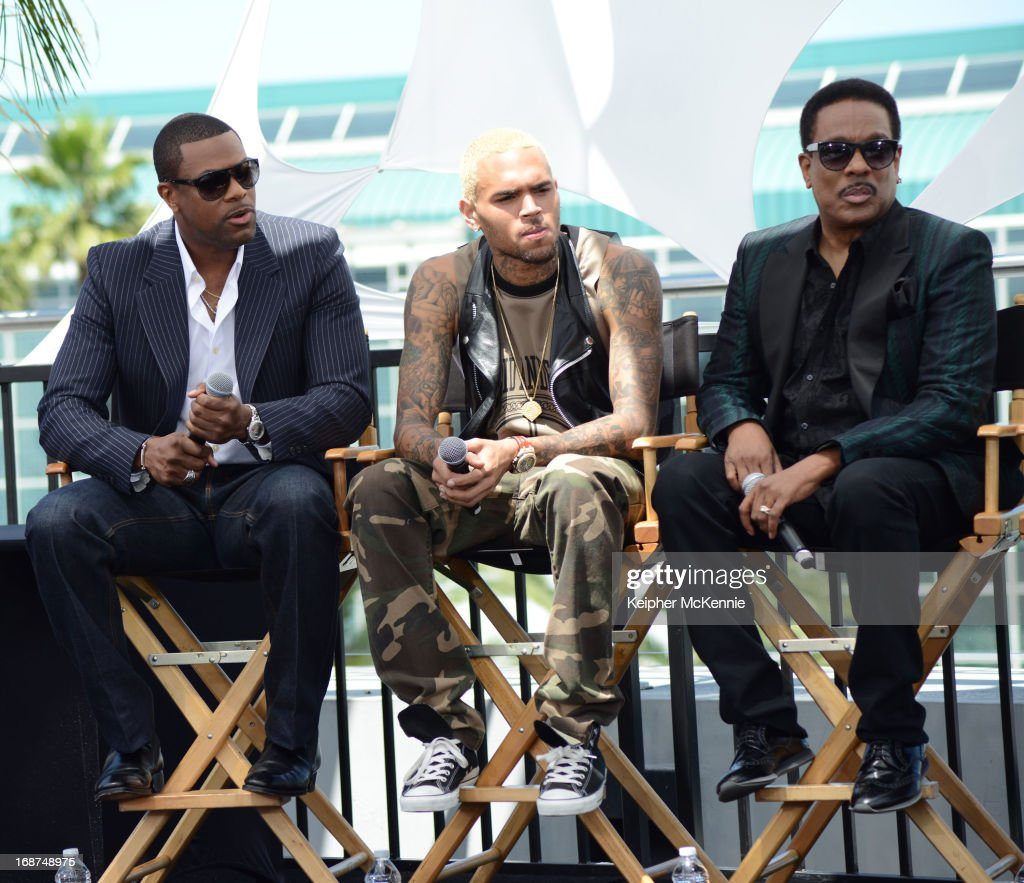 <a gi-track='captionPersonalityLinkClicked' href=/galleries/search?phrase=Chris+Tucker&family=editorial&specificpeople=203254 ng-click='$event.stopPropagation()'>Chris Tucker</a>, Chris Brown and Charlie Wilson on stage at the 2013 BET Awards press conference at Icon Ultra Lounge on May 14, 2013 in Los Angeles, California.