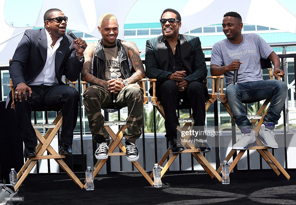 Chris Tucker, Chris Brown, Charlie Wilson and Kendrick Lamar attend the BET Awards 2013 Press Conference at Icon Ultra Lounge on May 14, 2013 in Los Angeles, California.