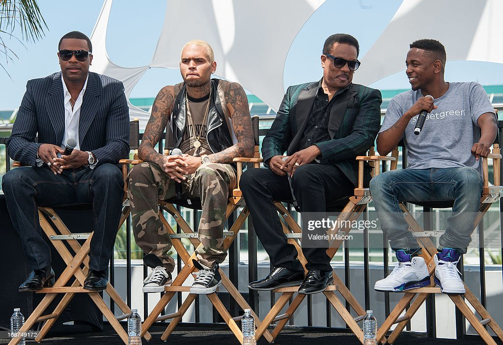 <a gi-track='captionPersonalityLinkClicked' href=/galleries/search?phrase=Chris+Tucker&family=editorial&specificpeople=203254 ng-click='$event.stopPropagation()'>Chris Tucker</a>, Chris Brown, Charlie Wilson and <a gi-track='captionPersonalityLinkClicked' href=/galleries/search?phrase=Kendrick+Lamar&family=editorial&specificpeople=8012417 ng-click='$event.stopPropagation()'>Kendrick Lamar</a> attends the 2013 BET Awards Press Conference at Icon Ultra Lounge on May 14, 2013 in Los Angeles, California.