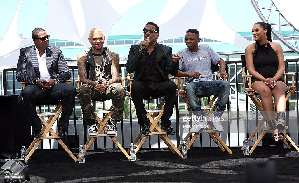 Chris Tucker, Chris Brown, Charlie Wilson, Kendrick Lamar and Tamar Braxton attend the BET Awards 2013 Press Conference at Icon Ultra Lounge on May 14, 2013 in Los Angeles, California.