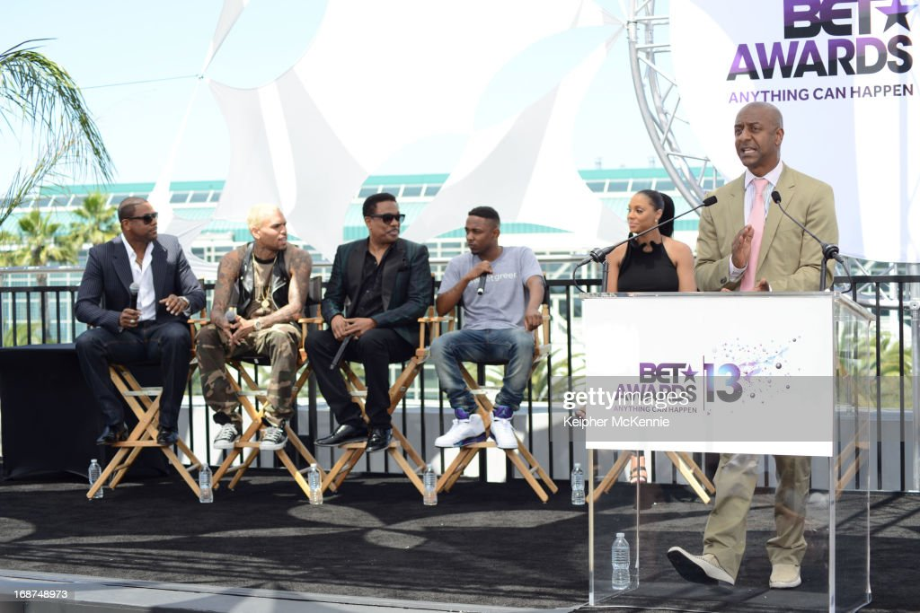 Chris Tucker, Chris Brown, Charlie Wilson, Kendrick Lamar, Tamar Braxton and Stephen G. Hill on stage at the 2013 BET Awards press conference at Icon Ultra Lounge on May 14, 2013 in Los Angeles, California.
