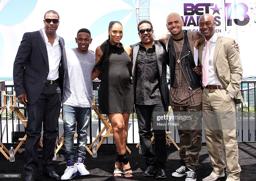 Chris Tucker, Kendrick Lamar, Tamar Braxton, Charlie Wilson, Chris Brown and Stephen Hill attend the BET Awards 2013 Press Conference at Icon Ultra Lounge on May 14, 2013 in Los Angeles, California.