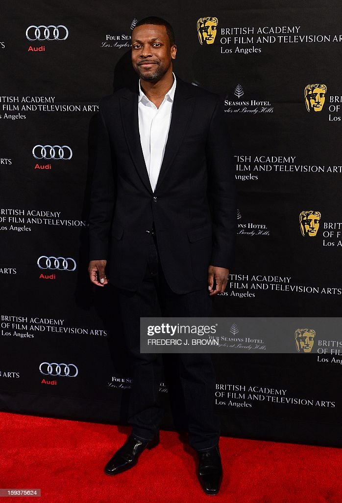 Chris Tucker poses on arrival for the British Academy of Film and Television Arts (BAFTA) Los Angeles Awards Season Tea Party on January 12, 2013 in Beverly Hills, California. AFP PHOTO / Frederic J. BROWN