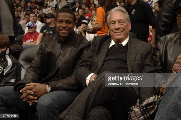 Chris Tucker sits courtside with Clippers owner Donald Sterling before the game between the Los Angeles Clippers and the Los Angeles Lakers on...