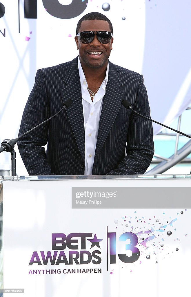 <a gi-track='captionPersonalityLinkClicked' href=/galleries/search?phrase=Chris+Tucker&family=editorial&specificpeople=203254 ng-click='$event.stopPropagation()'>Chris Tucker</a> speaks onstage during the BET Awards 2013 Press Conference at Icon Ultra Lounge on May 14, 2013 in Los Angeles, California.