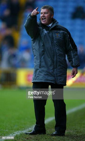 Chris Turner manager of Stockport County shouts instructions during the Coca Cola League Two match between Stockport County and Northampton Town at...