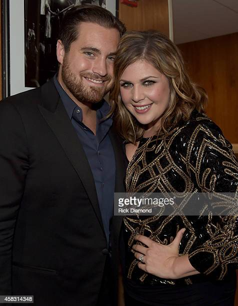 Chris Tyrrell and wife Hillary Scott of Lady Antebellum backstage at the first of six monthly concerts called Sam's Place Music For The Spirit at...