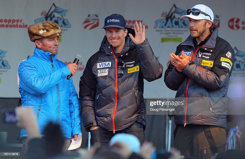 Chris 'Uncle E' Ernst introduces <a gi-track='captionPersonalityLinkClicked' href=/galleries/search?phrase=Ted+Ligety&family=editorial&specificpeople=580537 ng-click='$event.stopPropagation()'>Ted Ligety</a> and <a gi-track='captionPersonalityLinkClicked' href=/galleries/search?phrase=Bode+Miller&family=editorial&specificpeople=194742 ng-click='$event.stopPropagation()'>Bode Miller</a> during the U.S. Alpine Ski Team Announcement and pep rally at Copper Mountain on November 8, 2013 in Copper Mountain, Colorado.