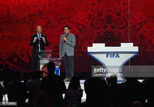 Chris Unger Head of FIFA World Cup Offce speaks to the media in the main draw hall of Konstantin Palace the venue for the 2018 FIFA World Cup...