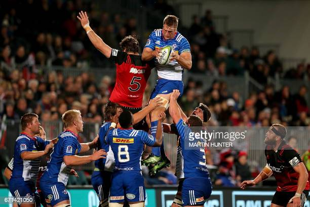 Chris van Zyl of the Western Stormers controls the lineout ball next to Sam Whitelock of the Canterbury Crusaders during the Super Rugby match...