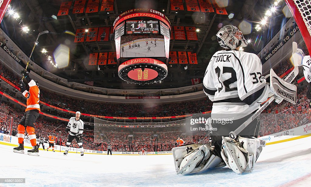 Chris VandeVelde #76 of the Philadelphia Flyers reacts after scoring his first goal as a Flyer against Jonathan Quick #32 of the Los Angeles Kings on October 28, 2014 at the Wells Fargo Center in Philadelphia, Pennsylvania. The Flyers defeated the Kings 3-2 in overtime.