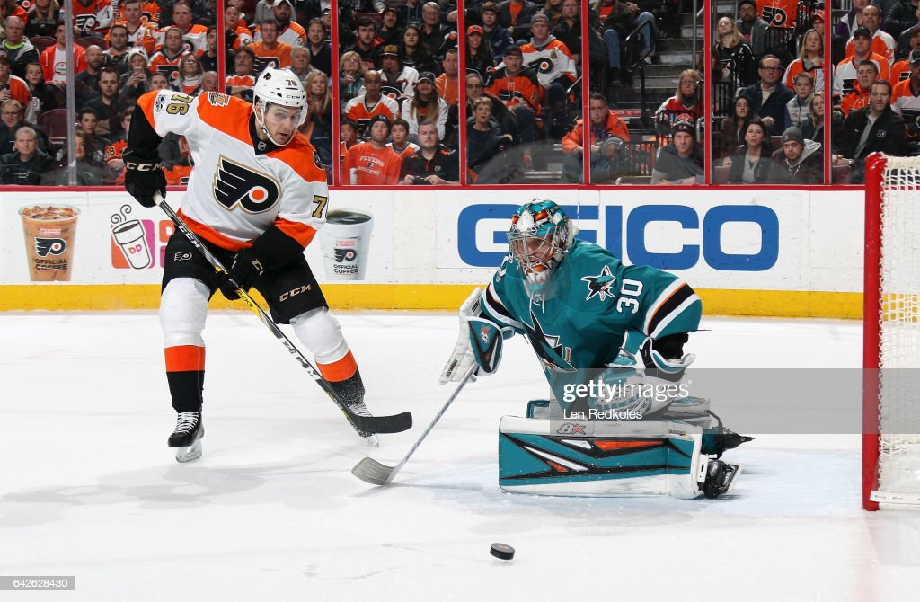 Chris VandeVelde #76 of the Philadelphia Flyers reacts to a shot on goal against Aaron Dell #30 of the San Jose Sharks on February 11, 2017 at the Wells Fargo Center in Philadelphia, Pennsylvania.