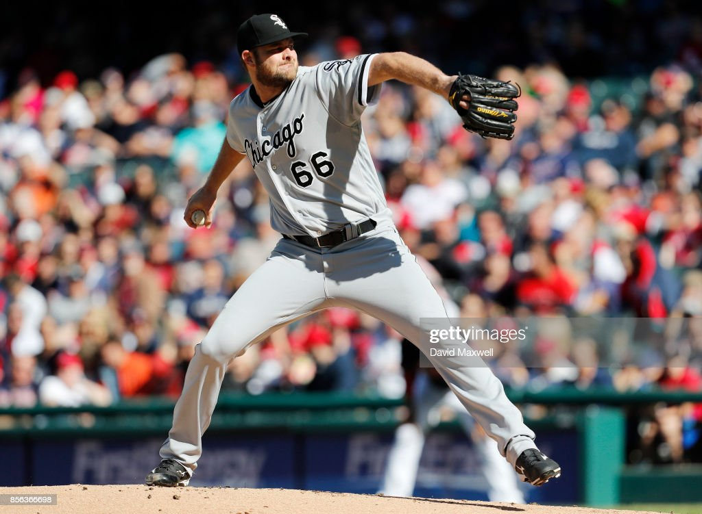 Chris Volstad #66 of the Chicago White Sox pitches against the Cleveland Indians the first inning at Progressive Field on October 1, 2017 in Cleveland, Ohio.