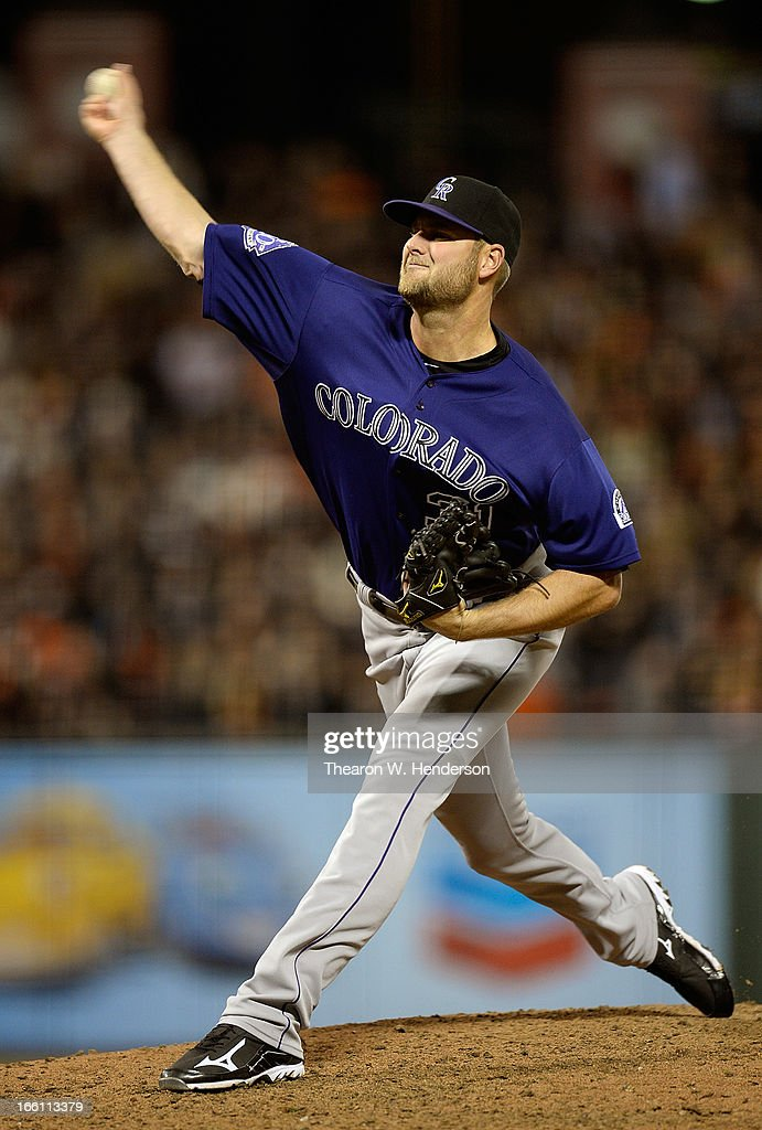 <a gi-track='captionPersonalityLinkClicked' href=/galleries/search?phrase=Chris+Volstad&family=editorial&specificpeople=4175503 ng-click='$event.stopPropagation()'>Chris Volstad</a> #31 of the Colorado Rockies pitches against the San Francisco Giants in the seventh inning at AT&T Park on April 8, 2013 in San Francisco, California. The Giants won the game 4-2.