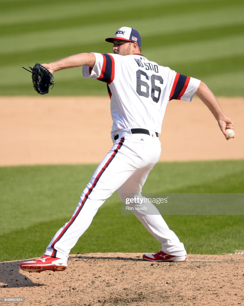 Chris Volsted #66 of the Chicago White Sox pitches against the San Francisco Giants on September 10, 2017 at Guaranteed Rate Field in Chicago, Illinois. The White Sox defeated the Giants 8-1.