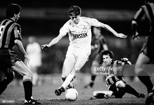 Chris Waddle of Tottenham Hotspur in action against Inter Milan during the Osvaldo Ardiles Testimonial match held at White Hart Lane London on 1st...
