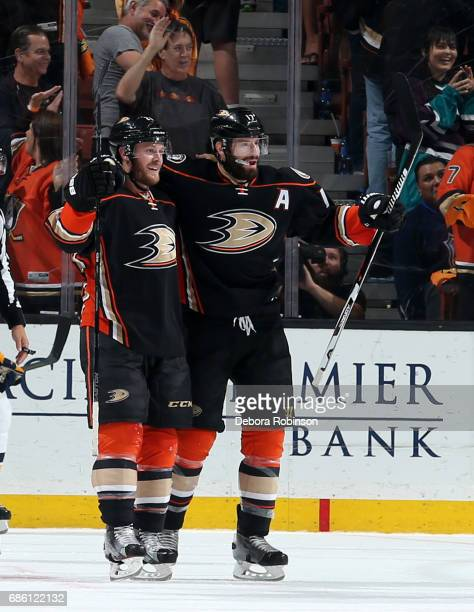 Chris Wagner and Ryan Kesler of the Anaheim Ducks celebrate Wagner's second period goal against the Nashville Predators in Game Five of the Western...