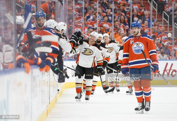 Chris Wagner of the Anaheim Ducks celebrates a goal against the Edmonton Oilers in Game Three of the Western Conference Second Round during the 2017...