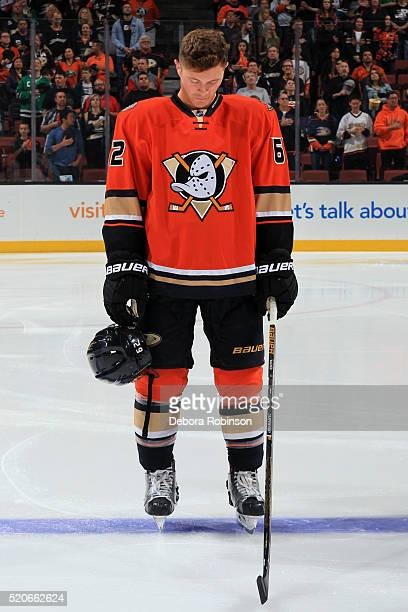 Chris Wagner of the Anaheim Ducks listens to the national anthem prior to the game against the Los Angeles Kings on April 3 2016 at Honda Center in...