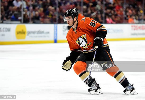 Chris Wagner of the Anaheim Ducks on the forecheck against the Nashville Predators at Honda Center on November 1 2015 in Anaheim California