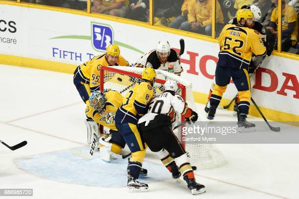Chris Wagner of the Anaheim Ducks scores against the defense of Pekka Rinne of the Nashville Predators during the third period in Game Six of the...