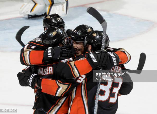 Chris Wagner Ryan Kesler Brandon Montour and Jakob Silfverberg of the Anaheim Ducks celebrate Wagner's second period goal against the Nashville...