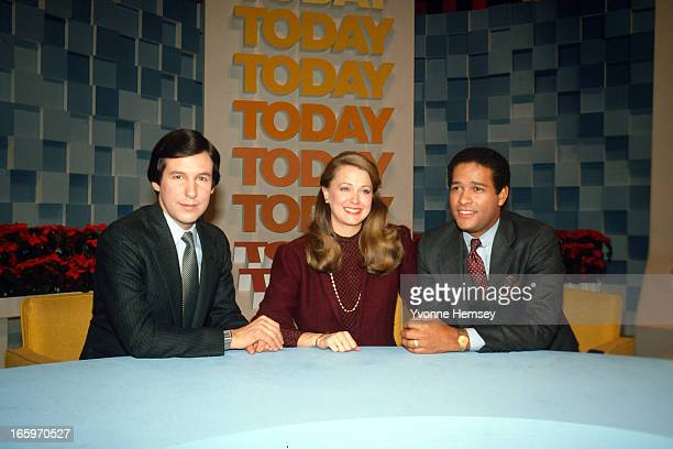 Chris Wallace Jane Pauley and Bryant Gumbel on the set of the Today Show December 27 1982 in New York City